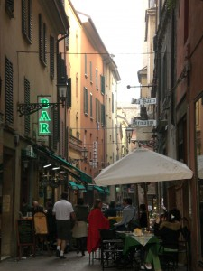 One of Bologna, Italy's narrow streets