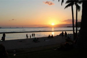 Sunset on Waikiki Beach