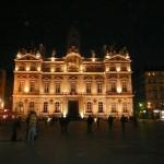 Lyon square at night