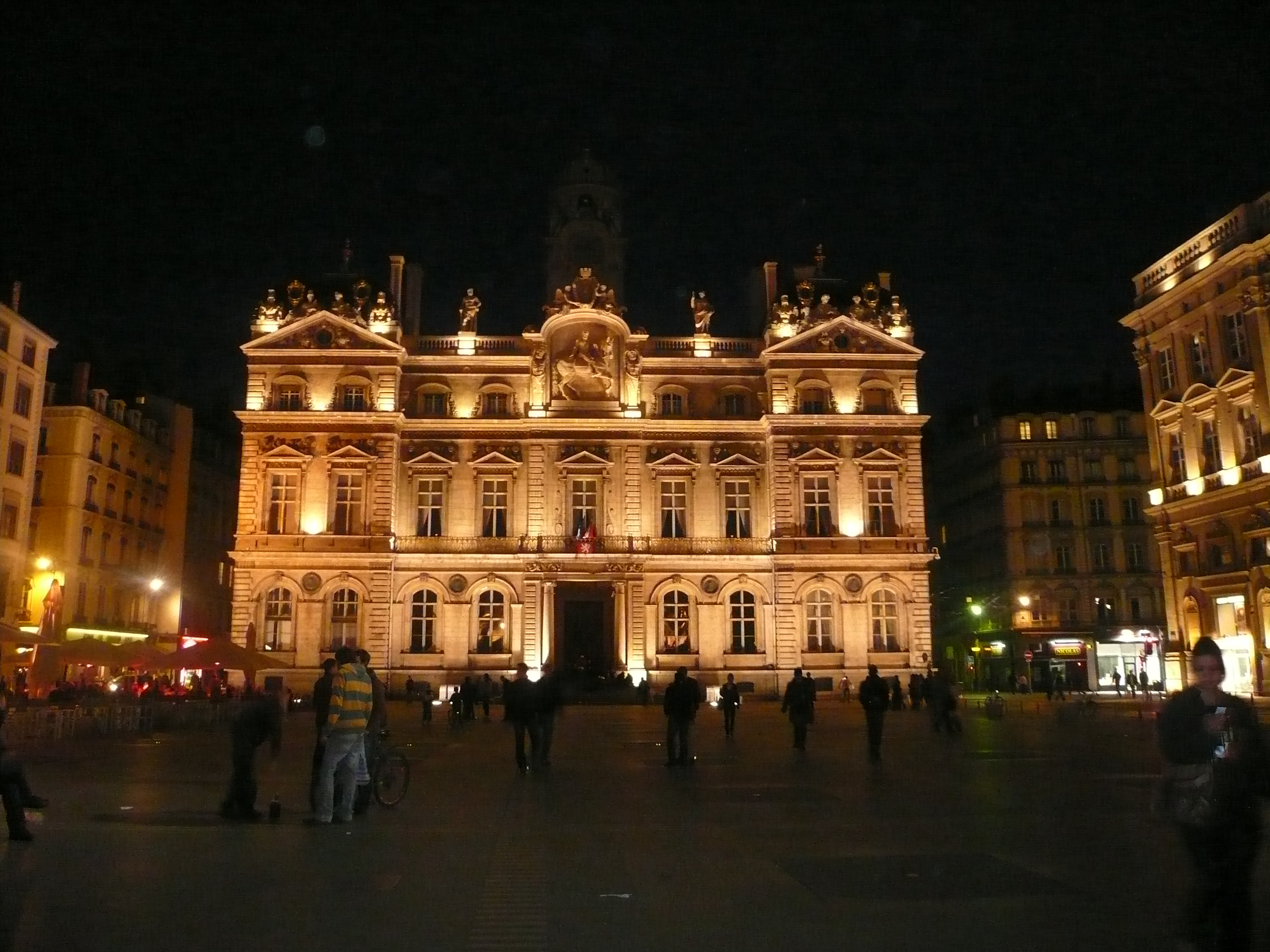 Lyon square at night